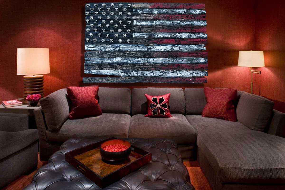 Home Decor Art: 3D American Flag, Limited Edition Grunge Version