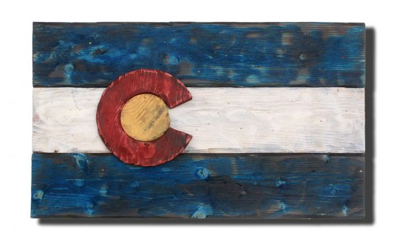 Colorado Flag Distressed Wood Wooden Vintage Art Denver