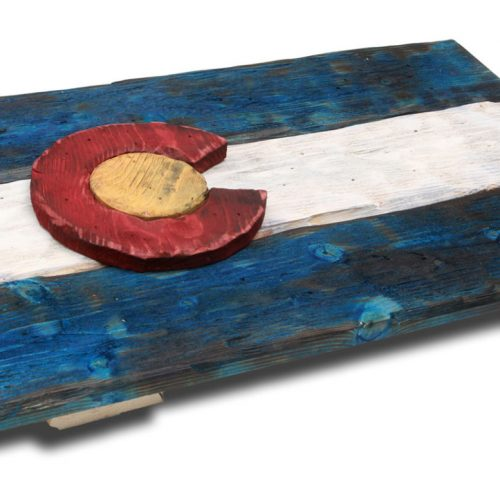 3D Colorado flag, Distressed Wood, Wooden, vintage, art, Denver Flag, weathered, recycled, Colorado flag art, red blue, home decor, wall art