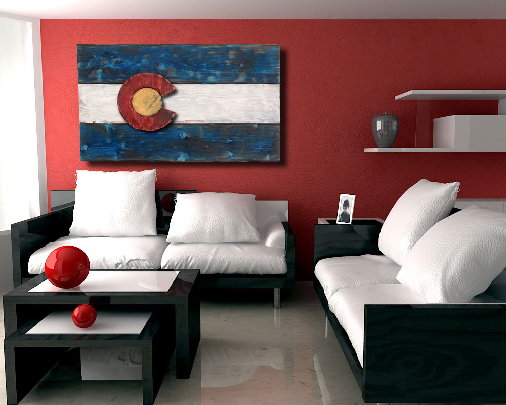 3D Colorado Flag, Distressed Wood, Wooden, Vintage, Art, Denver Flag,