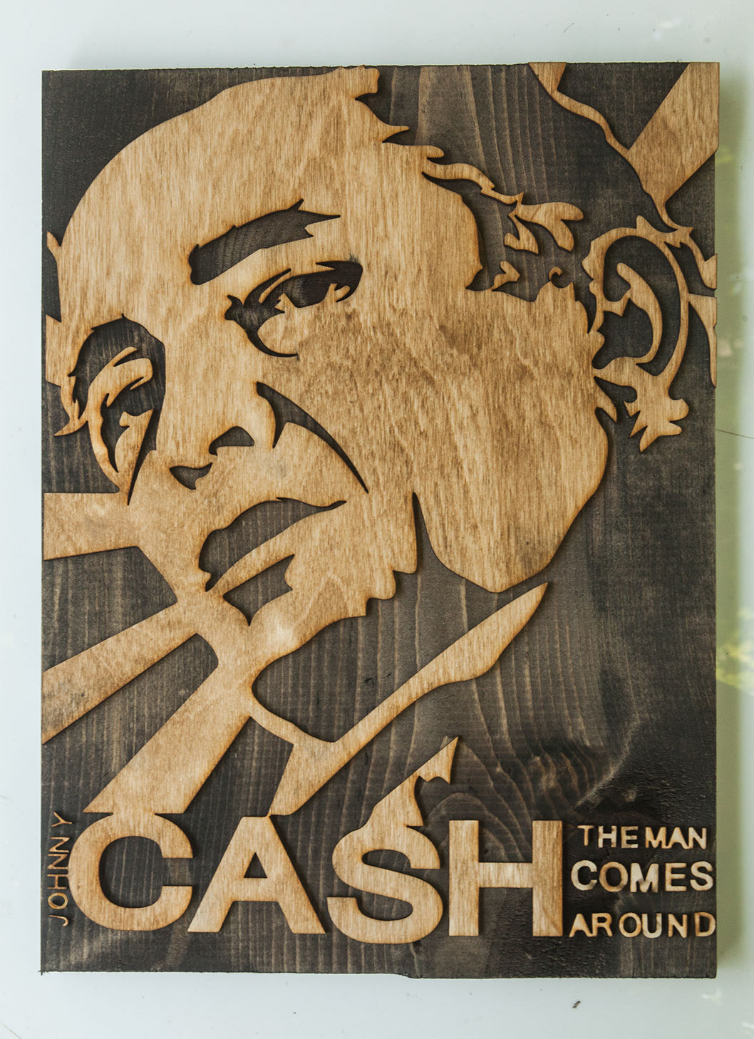 Wood Art Decor Best 3D Sculptured Wall Hanging Wooden Artjohnny Cash Country Wood Inspiration Design