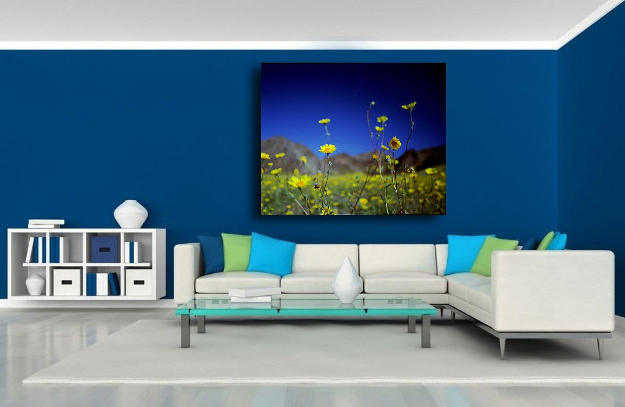 A Stunning Museum Quality Canvas Gallery Wrap Flowers Blue - Blue and yellow home decor