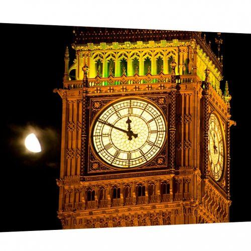 A stunning museum quality canvas gallery wrap, original photography, canvas print, Big Ben, London, England, moon, parliament, night photo