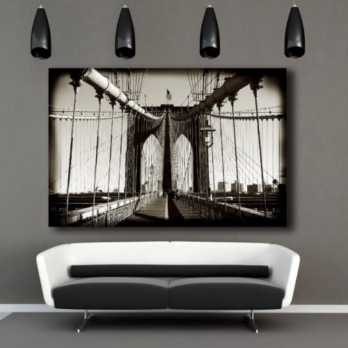 A stunning photo museum quality canvas gallery wrap of the Brooklyn Bridge in NYC.