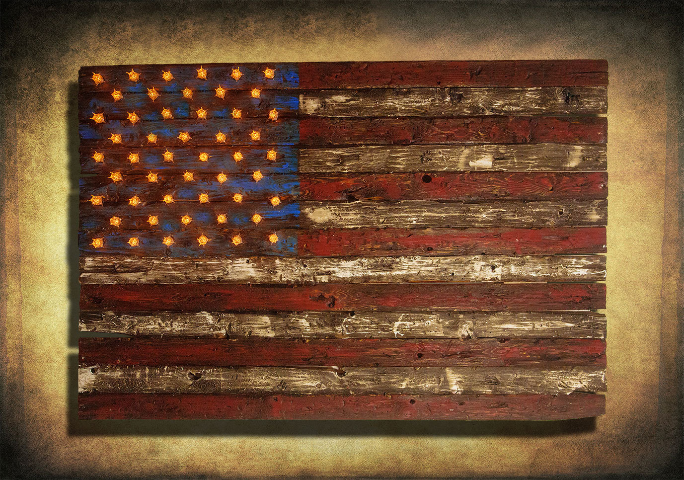 American Flag, Weathered Wood, Edison Bulb, 3D, Wooden, Vintage, Art