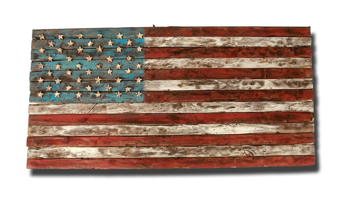American Flag, Weathered Wood, One Of A Kind, 3D, Wooden, Vintage