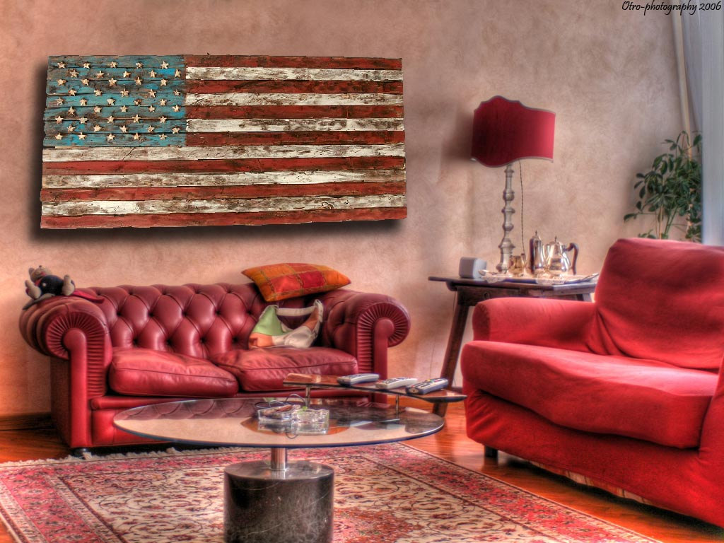 American Flag Weathered Wood One Of A Kind 3d Wooden Vintage Art Distressed Red Blue