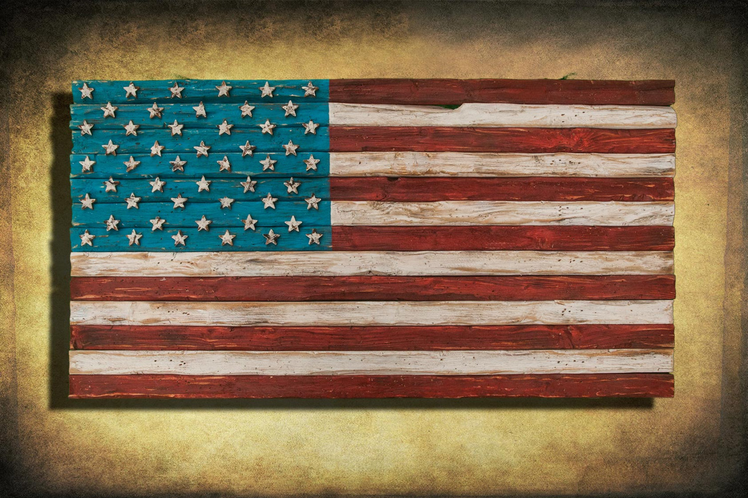 Red Wooden Wall Decor : American flag weathered wood one of a kind d wooden