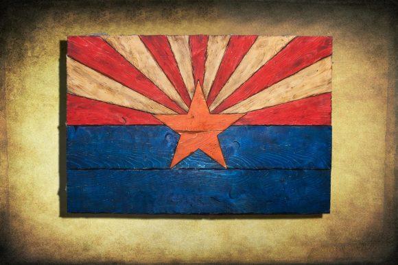 Arizona Flag, Handmade, distressed painted Wood, vintage, art ...
