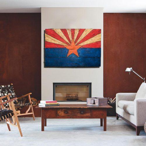 Arizona Flag, Handmade, distressed painted Wood, vintage, art, distressed, weathered, AZ, Arizona flag art, home decor, Wall art, blue
