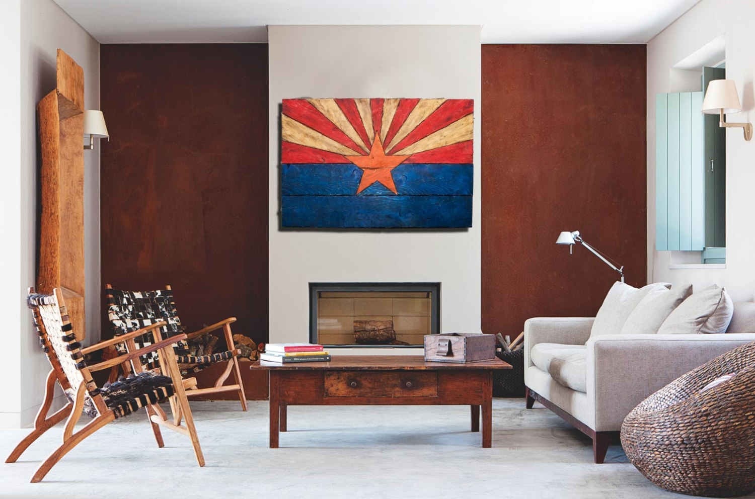 arizona flag handmade distressed painted wood vintage art distressed weathered az. Black Bedroom Furniture Sets. Home Design Ideas