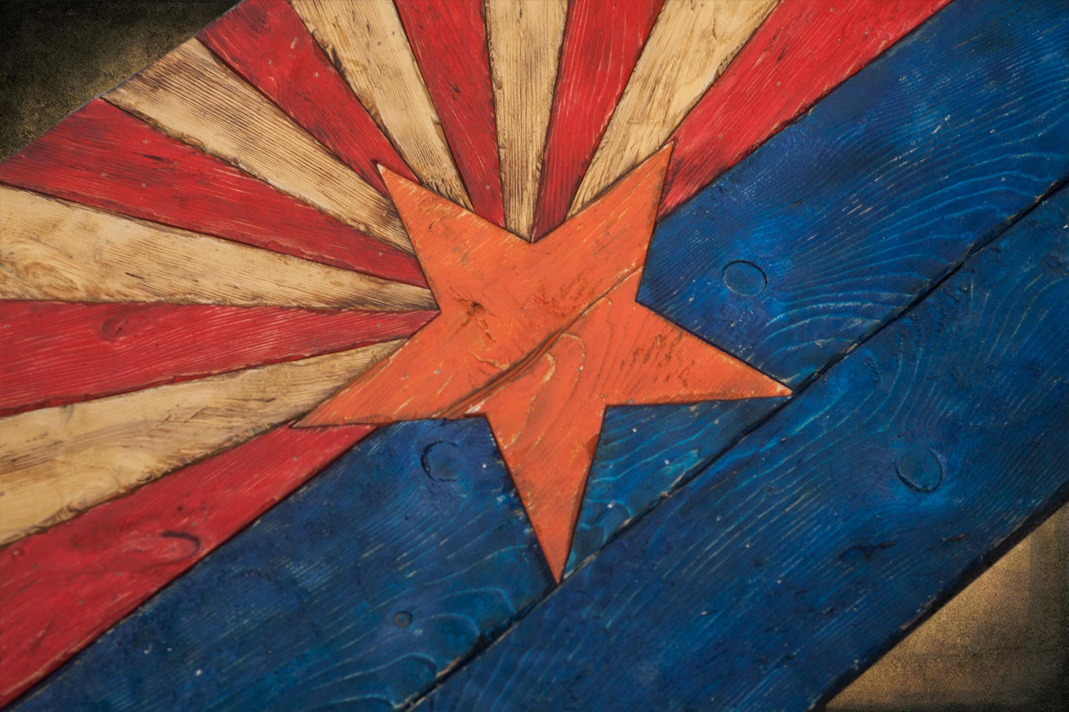 Arizona Flag Handmade Distressed Painted Wood Vintage Art Distressed Weathered Az