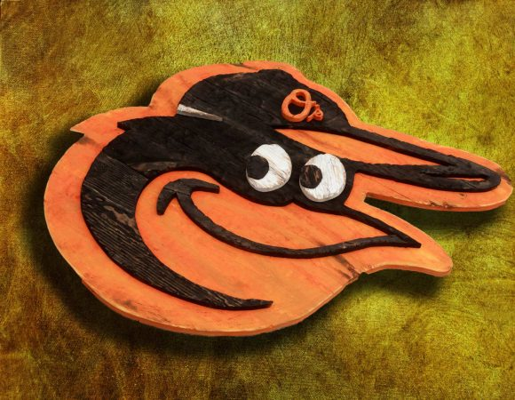 Baltimore Orioles Handmade distressed wood sign, vintage, art, weathered, recycled, Baseball, home decor, Wall art, Man Cave, orange, black