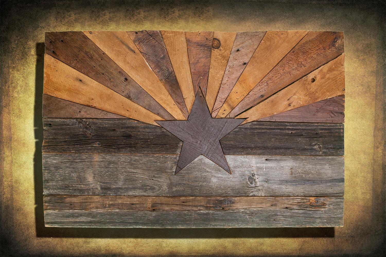 Gentil Barn Wood Arizona Flag, Handmade, Distressed Natural Wood, Vintage, Art,  Distressed