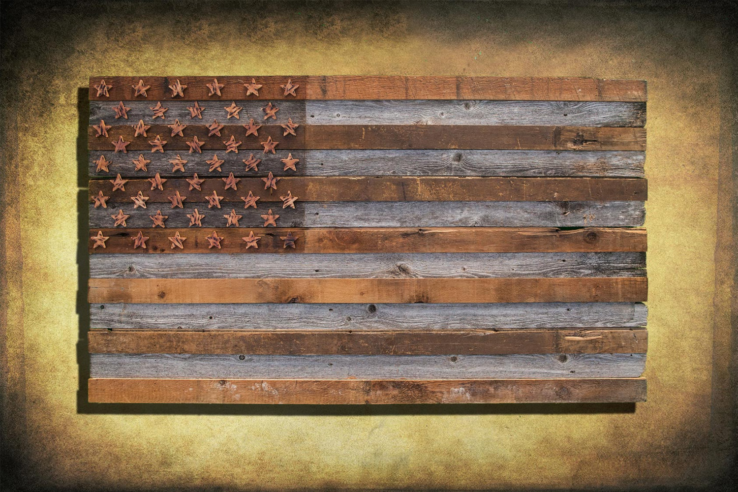 Barnwood american flag 100 year old wood one of a kind for Painted american flag wall art