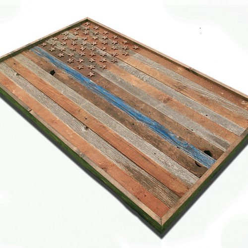 Barnwood Thin Blue Line American Flag, 100 year old Wood, One of a kind, 3D, Wooden, vintage, art, distressed,  police, wall art, USA,