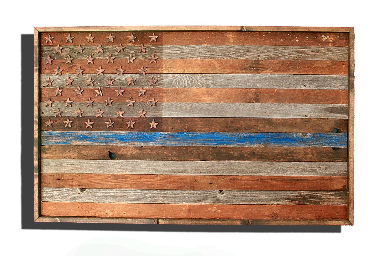 blue barn wood. Barnwood Thin Blue Line American Flag, 100 Year Old Wood, One Of A Kind Barn Wood