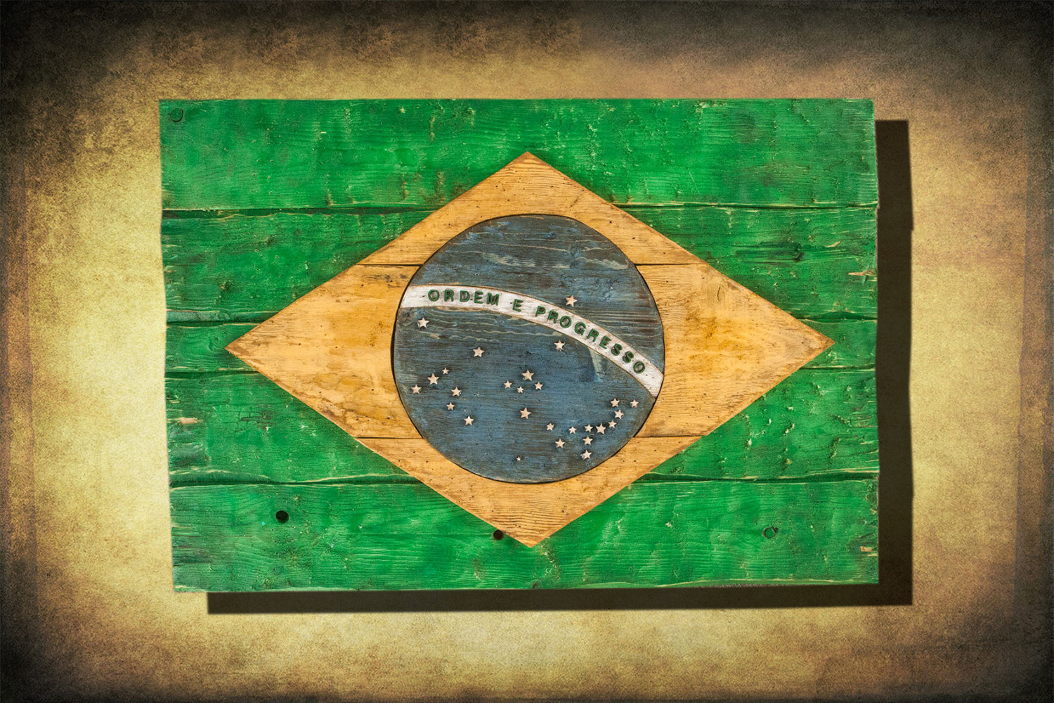 brazilian flag weathered distressed wood flag limited edition