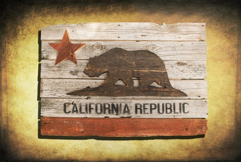 California Republic Flag Barn Wood Edition Wooden