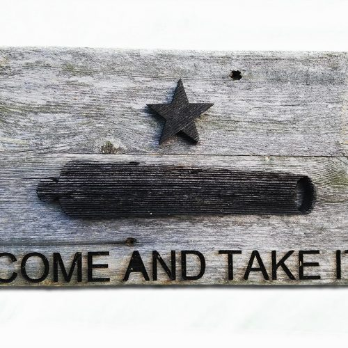 Canon Flag, Come and Take It 3D flag. Weathered Wood One of a kind ,vintage, art, distressed, weathered, recycled, gun, Texas