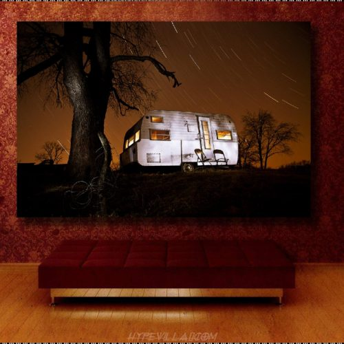 Canvas Gallery Wrap, Night time photography, Stars, long exposure, orange, camper, vintage, Canvas print, light painting, home decor