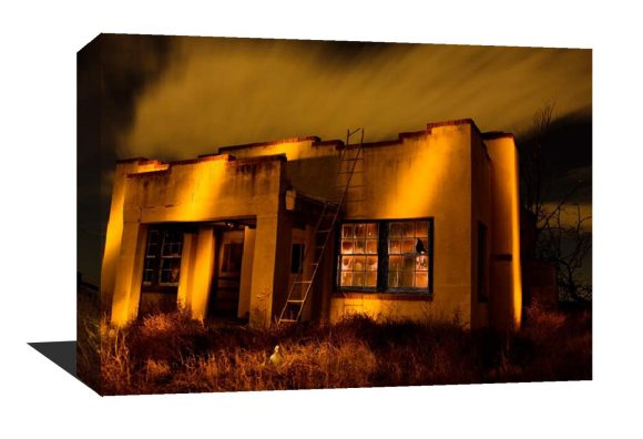 Canvas Gallery Wrap, Night time photography, Stars, long exposure, orange, yellow, vintage, Canvas print, light painting, home decor
