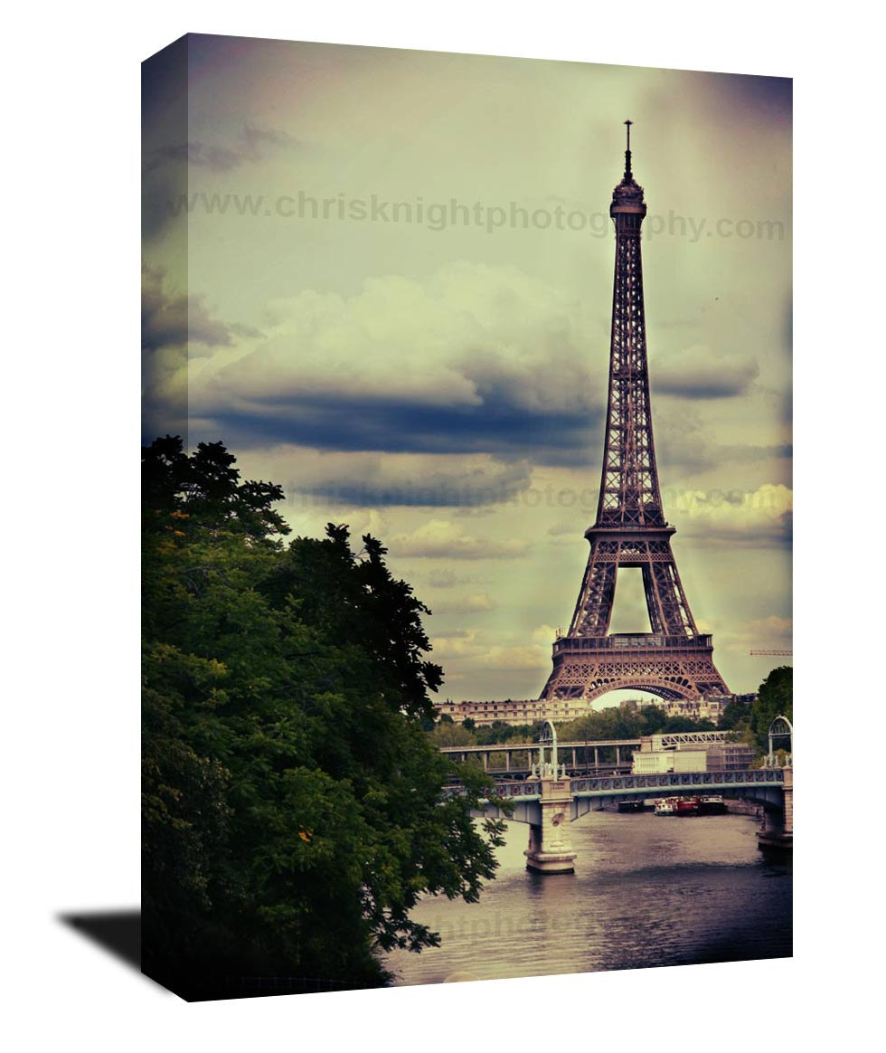 - Canvas Gallery Wrap, Water Color, Vintage, Paris Decor, Paris