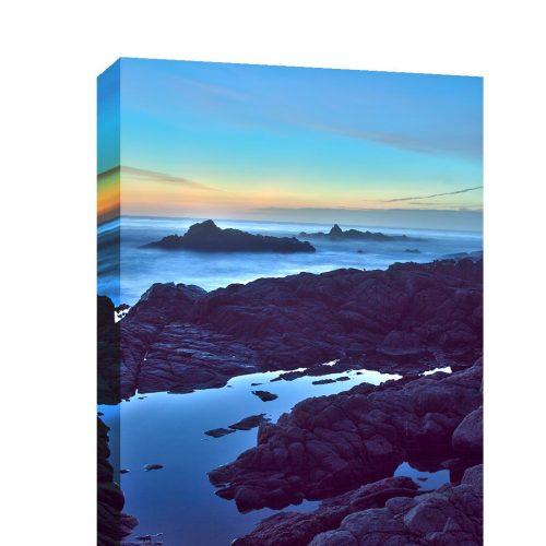 Canvas wrap Landscape photography, seascape ocean, Beach photograph Haystack Rock moody sea Califronia Oregon coast Pacific Northwest travel
