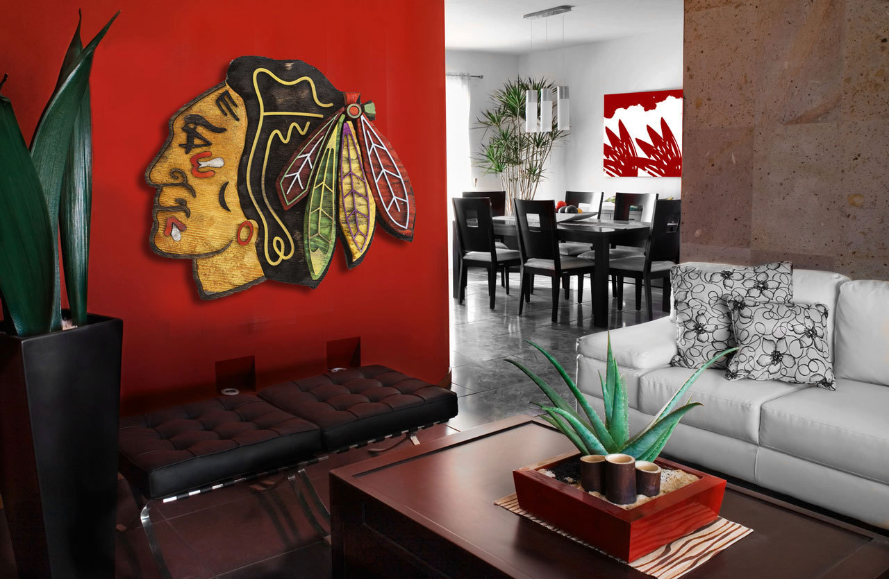 Home Decor Wall Art Chicago Blackhawks Handmade Distressed Wood Sign Vintage Art