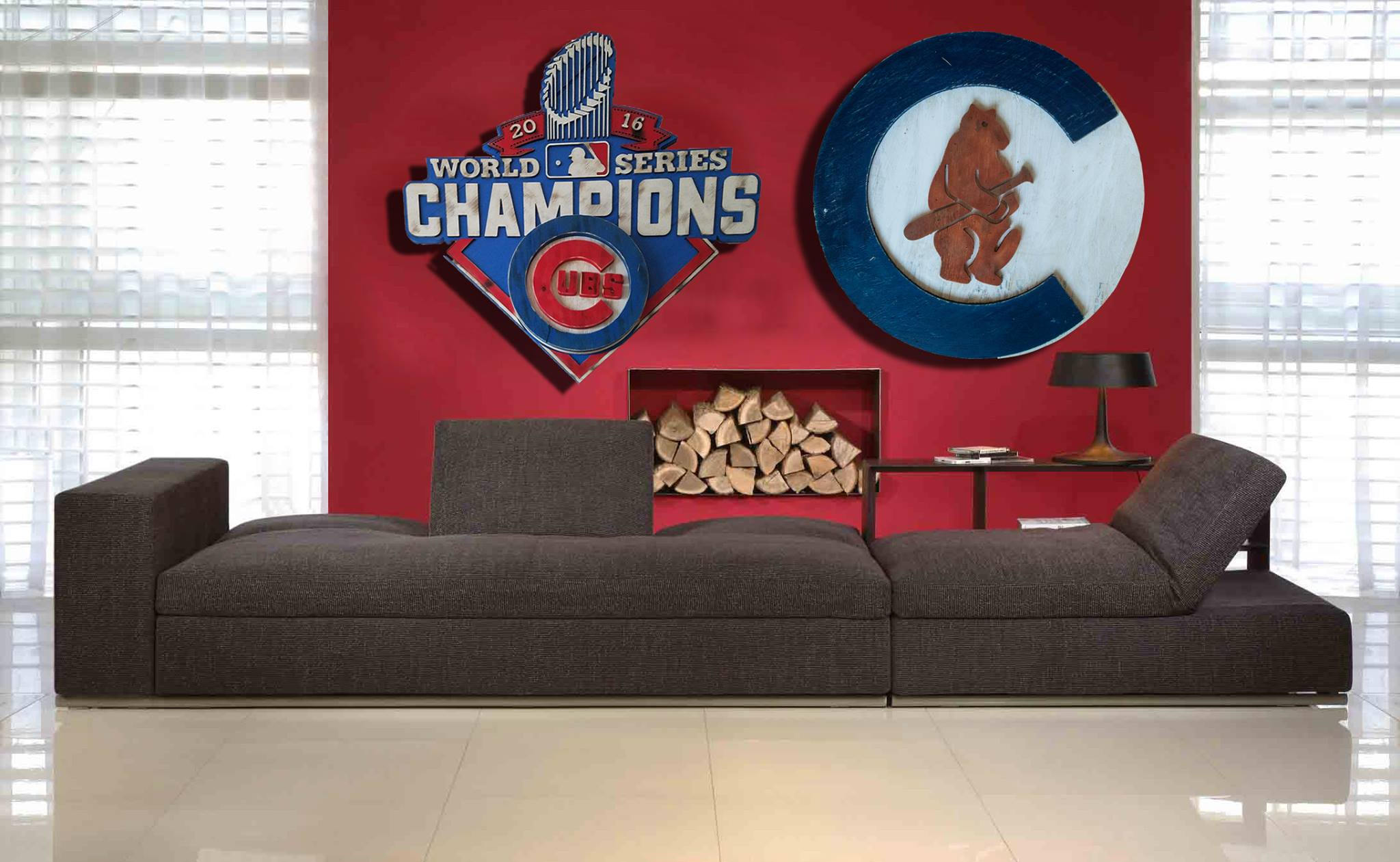 Chicago Cubs 1908 logo Handmade distressed wood sign, vintage, art ...