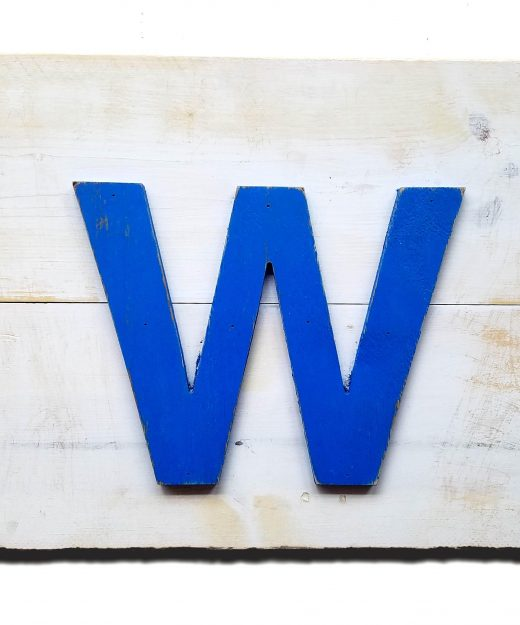 Chicago Cubs Handmade distressed W for the WIN wood sign, vintage, art, weathered, recycled, Baseball, home decor, Wall art, Man Cave, Blue