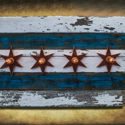 Chicago Flag One of a kind Barn Wood, Antique Edison light bulbs, Blue, red, Illinois,recycled, reclaimed, wooden, rustic