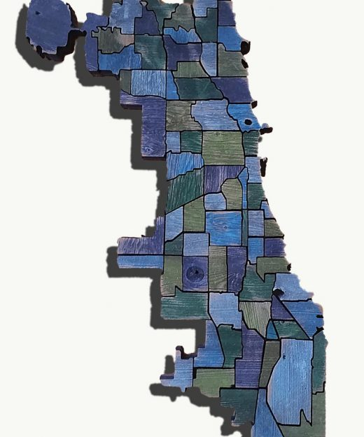 Chicago neighborhood Map from Reclaimed fencing, recycled, reclaimed wooden map, vintage, rustic fine art one of a kind piece.