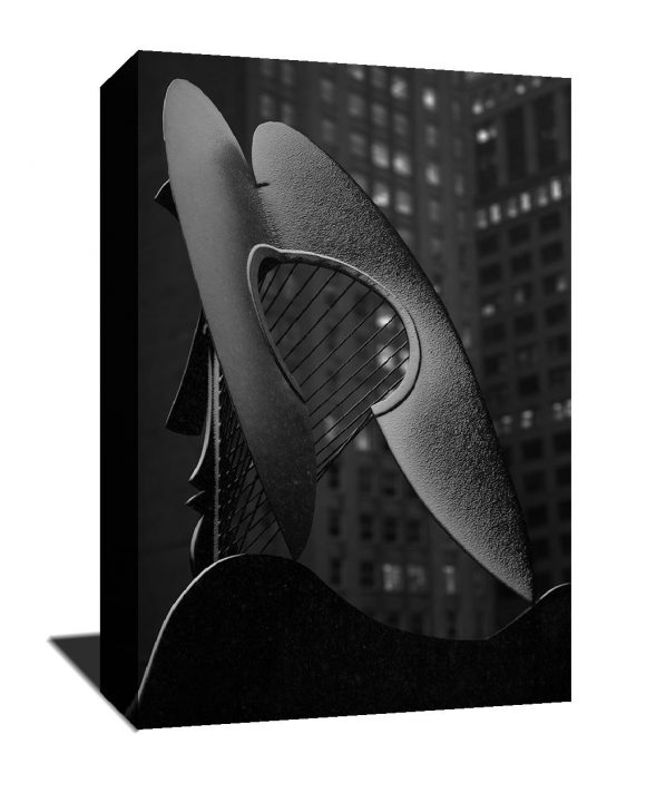 Chicago photography, Stunning chicago print, black and white, Picasso sculpture, snow, statue, canvas print, skyline, winter, night time