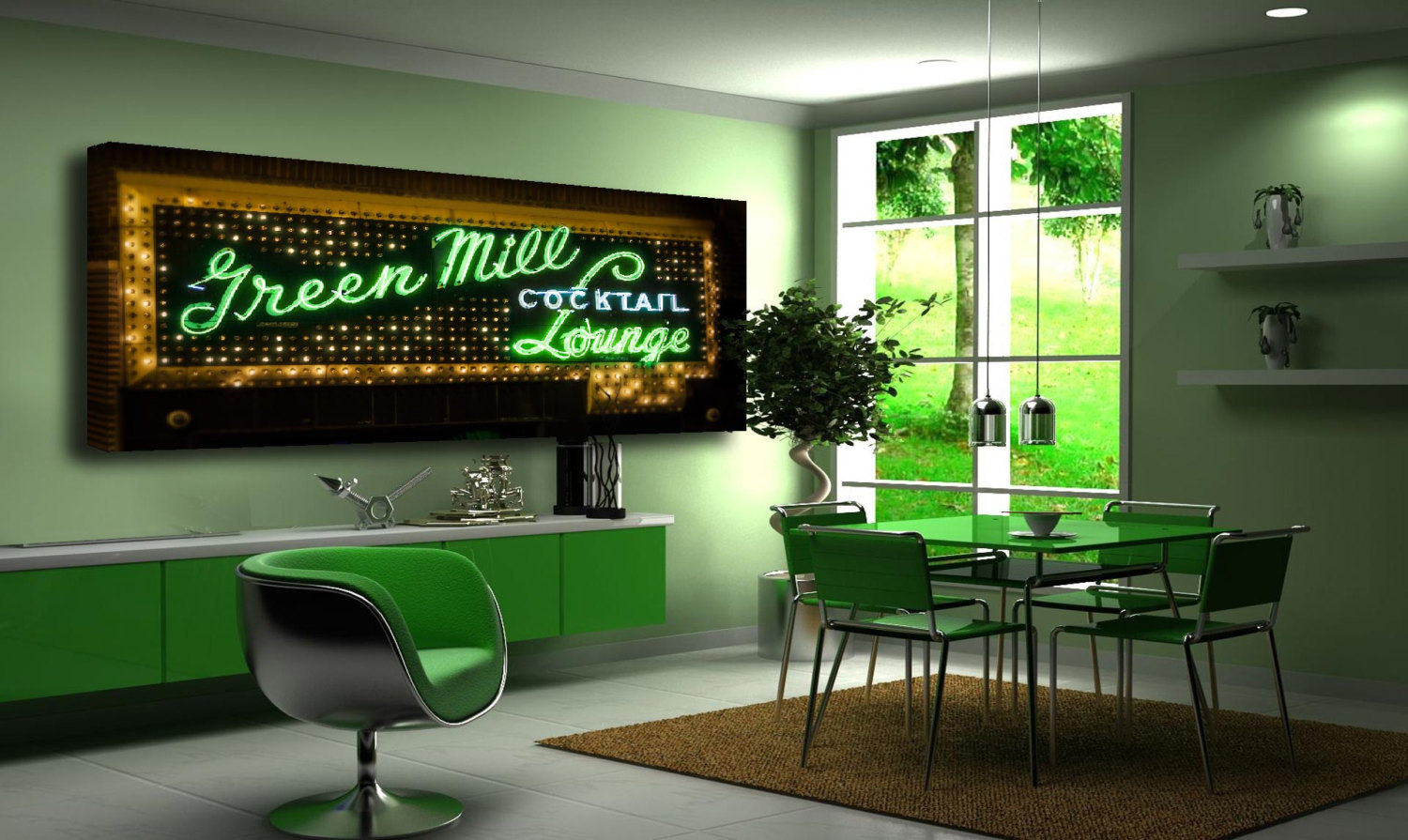 Chicago Photography, Wall Art, Green, Photo, Green Mill, Green, Canvas