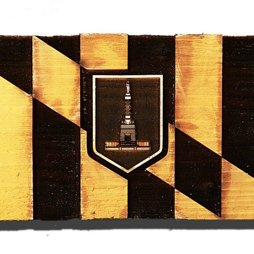 City of Baltimore Maryland Flag Weathered Wood One of a kind , Wooden, vintage, art, distressed, weathered, recycled, black, yellow