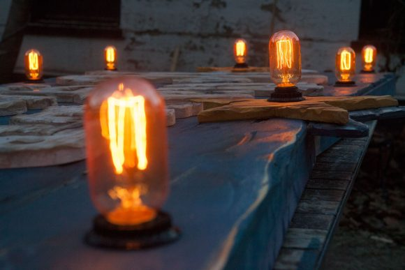 Custom vintage 3D wooden sign Edison Light Bulbs for your home or store, distressed, antique, barn wood, recycled, hollywood, rustic, blue