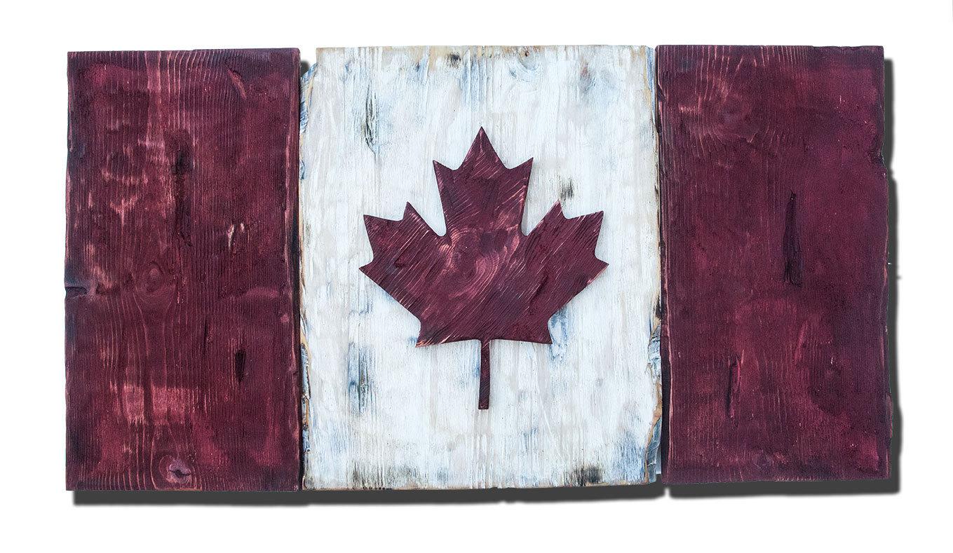 Distressed Wood One of a kind Canadian Flag, Maple Leaf, L\'Unifolie ...