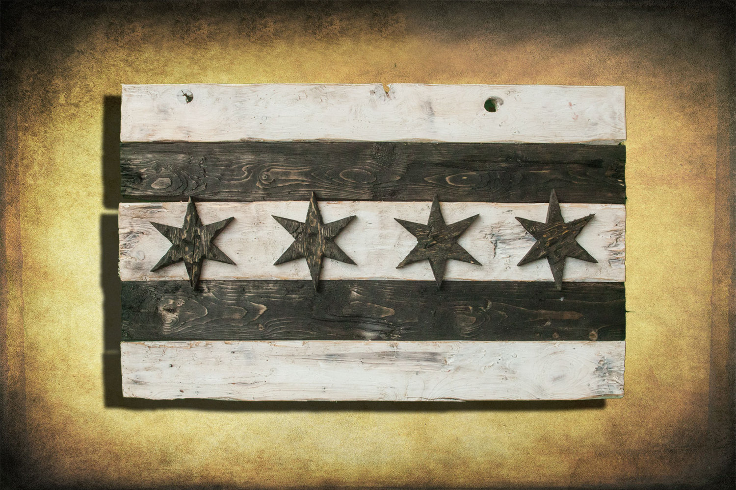 Distressed Wooden Chicago Flag Black And White Version Vintage Weathered