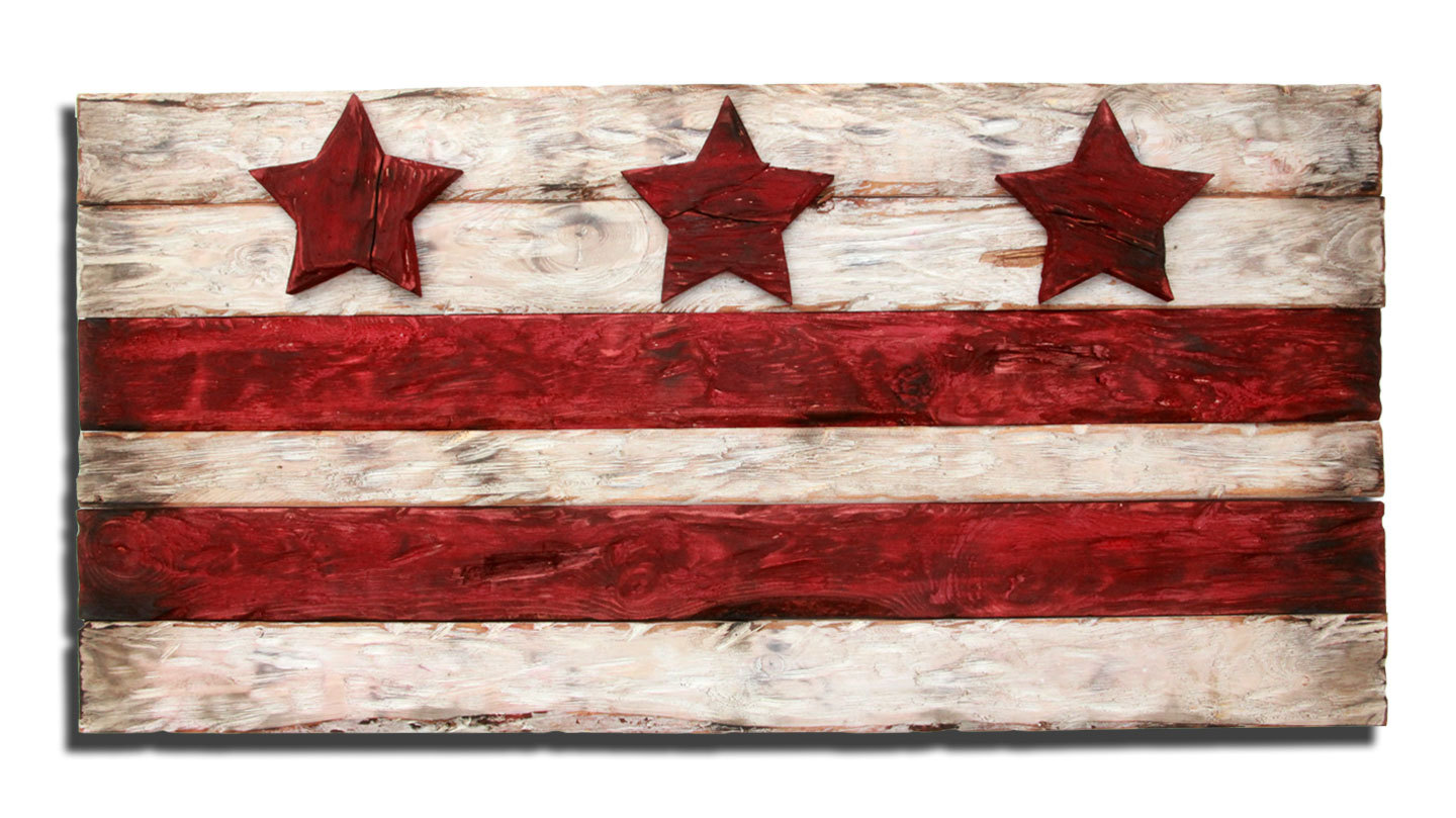 District Of Columbia Flag Weathered Wood One Of A Kind