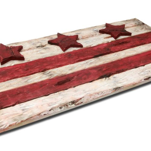 District of Columbia flag, Weathered Wood One of a kind, Wooden, vintage, art, distressed, recycled, Washington DC flag art. home decor, red