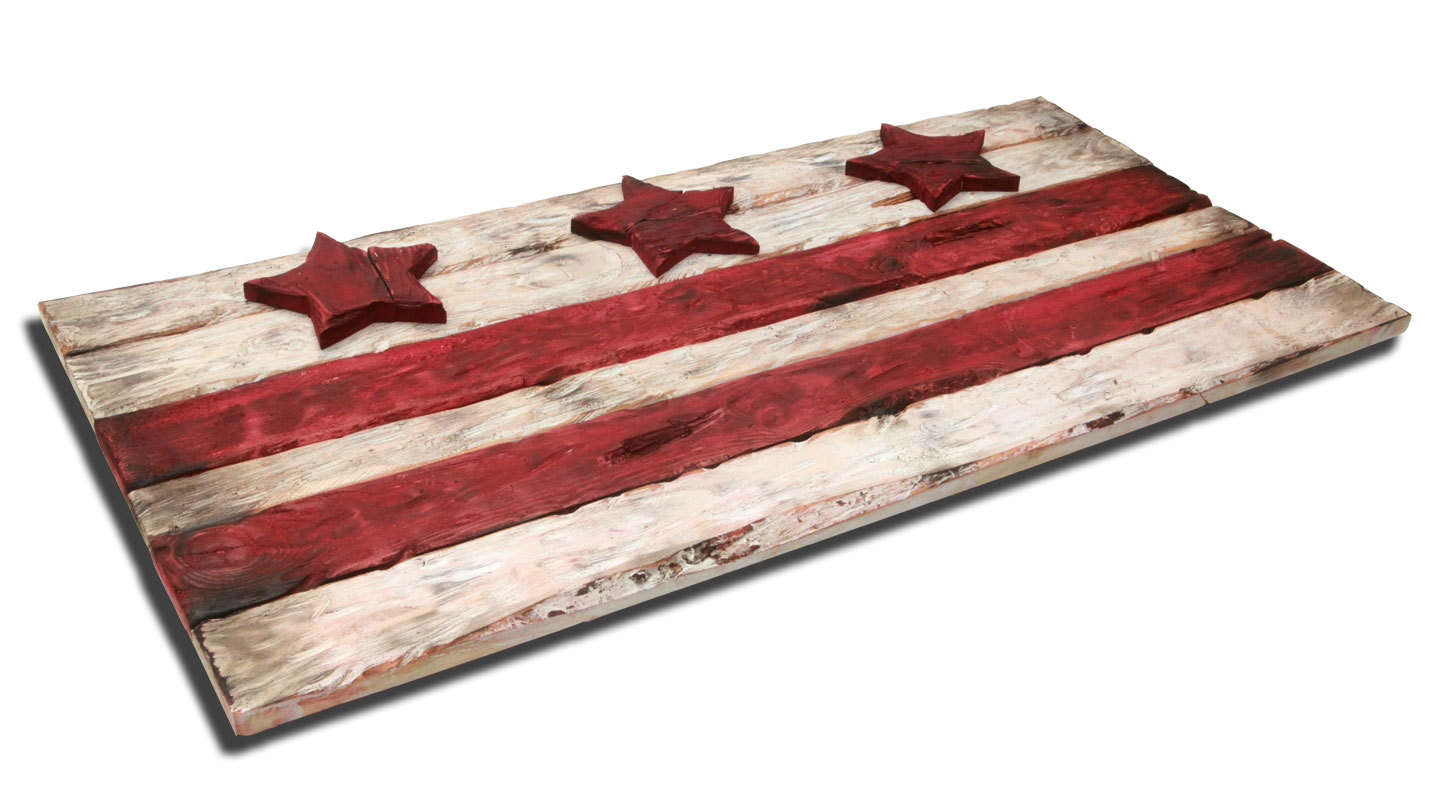 District of columbia flag weathered wood one of a kind for Reclaimed wood dc