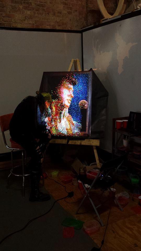"Elvis Presley Lite Brite ""The King of All Lite Brites"", 35x40 inch hanging wall art, Blue, Red, Custom Lite Brite"