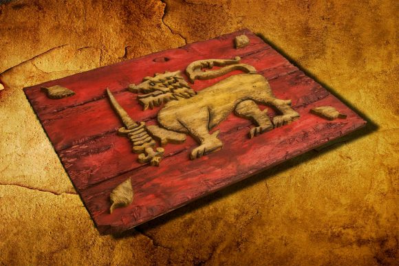 Flag of Sri Lanka, Limited Edition, Weathered Wood One of a kind , Wooden, vintage, art, distressed, weathered, recycled, Lion, red, yellow