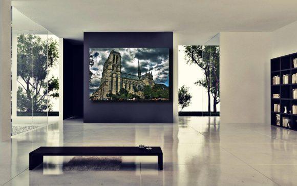 Gallery wrap, Gargoyle, Notre Dame Cathedral, Paris decor, Paris France, eiffel Tower, Europe, Black and White photogrphy, HDR photograph
