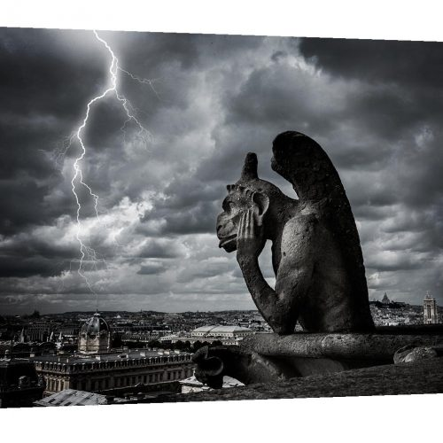 Gallery wrap, Gargoyle, Notre Dame Cathedral, Paris decor, Paris France, lighting, Europe, Black and White photography, Travel, Gothic