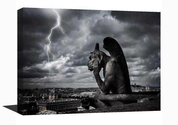 Gallery wrap, Gargoyle, Notre Dame Cathedral, Paris decor, Paris France, lighting, Europe, Black and White photography, Travel, Gothic