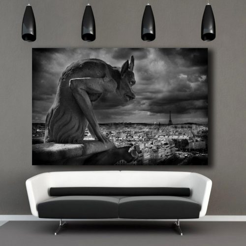 Gargoyle Gallery wrap, Notre Dame Cathedral, Paris decor, Paris France, eiffel Tower, Europe, Black White photography, gargoyle home decor
