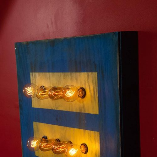 Gay Marriage Equality Weathered Wood Wall Hanging Art with vintage Edison Lights, 24x24x4