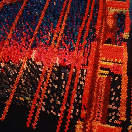 Golden Gate Bridge Giant Lite Brite, orange, red, sculpture, wall art, San Francisco, California